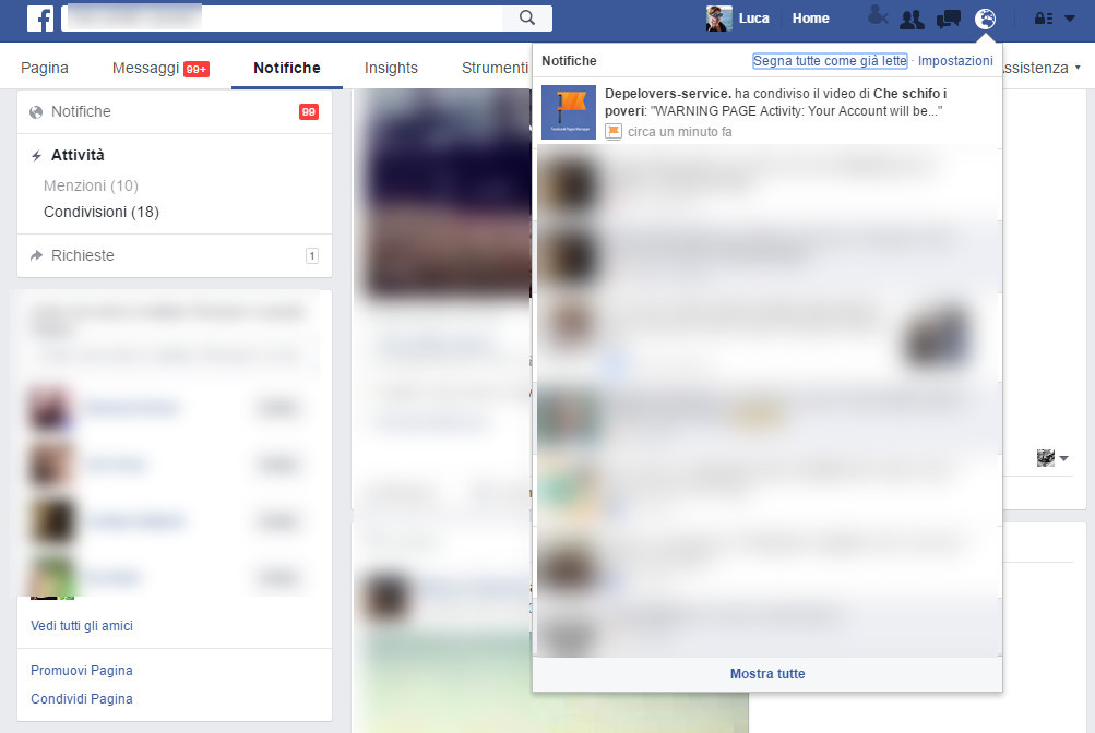 Rubare pagina Facebook