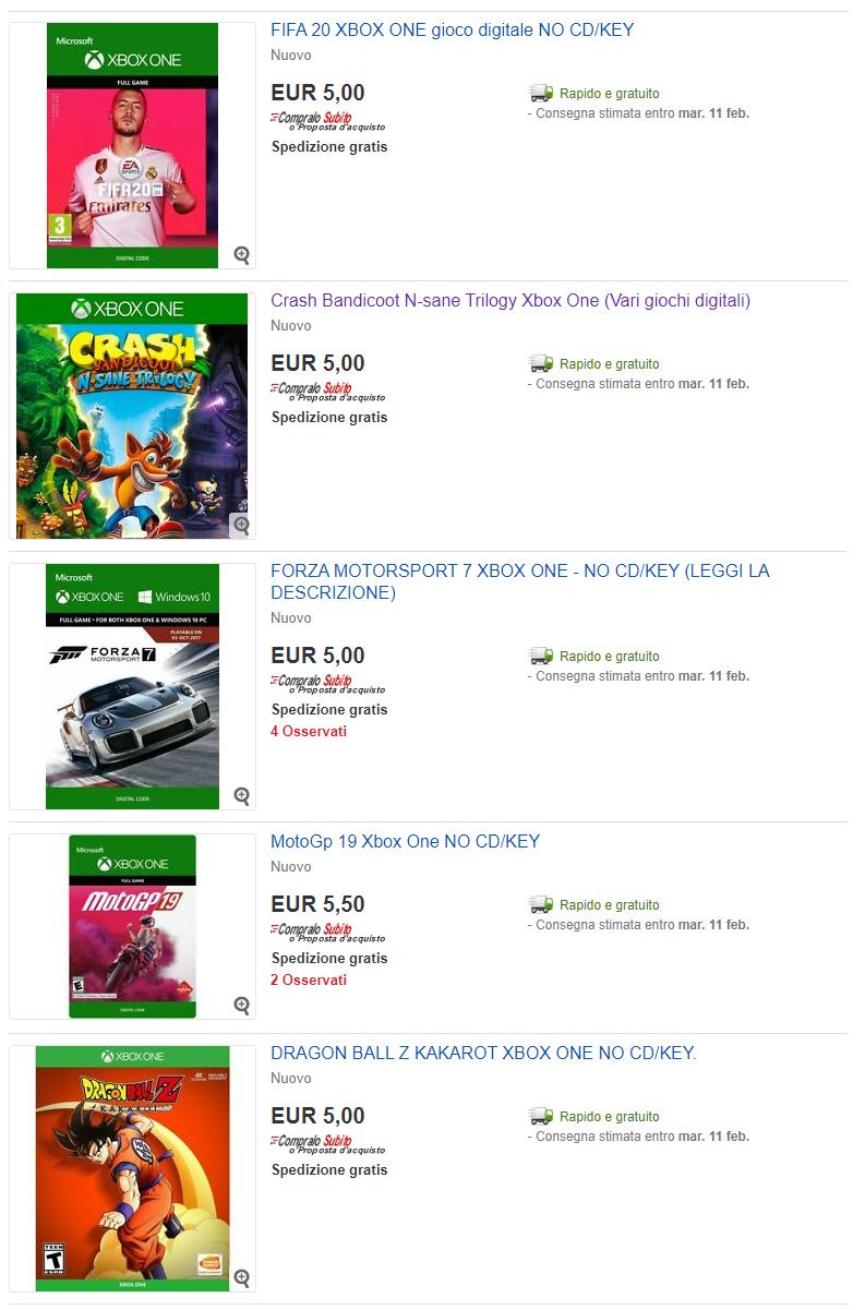 Condivisione giochi Xbox One